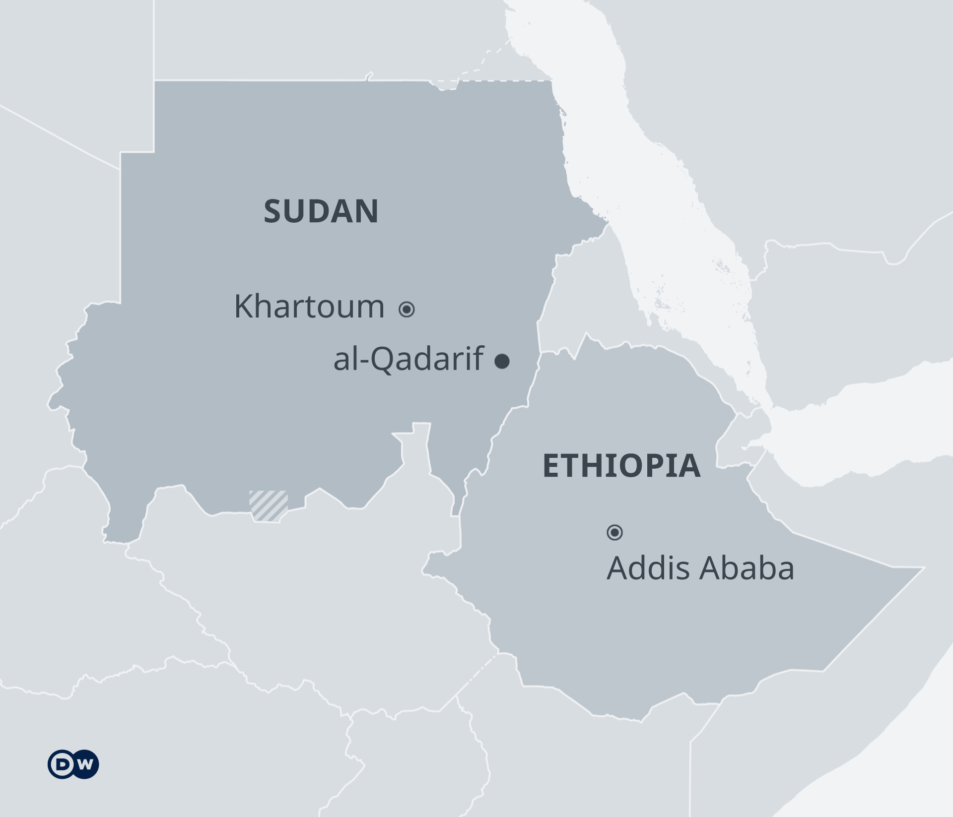 Map showing Sudan's al-Qadarif province next to Ethiopia's border.
