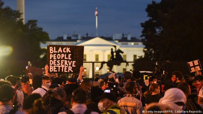 Anti-racism protests in front of the White House in Washington DC