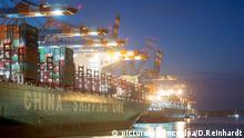 Containerschiffe liegen am 20.01.2016 in Hamburg im Hafen am Containerterminal Eurogate. | Verwendung weltweit