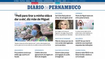 Foto da capa do jornal Diário de Pernambuco, com várias reportagens sobre o caso