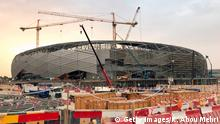 A picture taken during a media tour organised by Qatar's Supreme Committee for Delivery and Legacy on May 18, 2019, of construction work at the site of the future Education City Stadium in Doha. (Photo by Karim ABOU MERHI / AFP) (Photo credit should read KARIM ABOU MERHI/AFP via Getty Images)