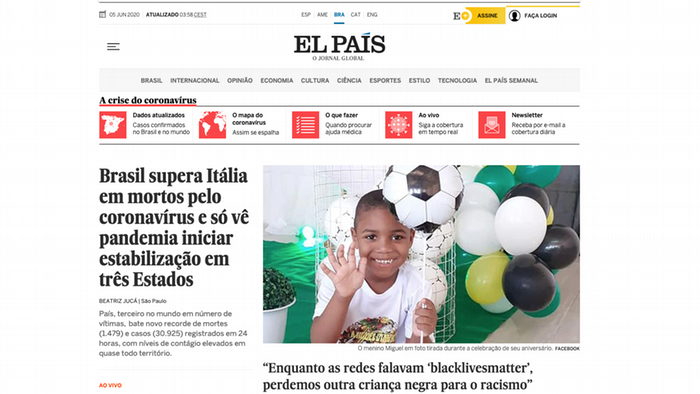 A screenshot of El Pais's Brazil online platform, showing Miguel