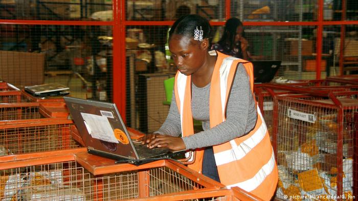A Jumia employee works at a multi-purpose warehouse in Lagos, Nigeria