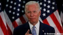 June 5, 2020*** U.S. Democratic presidential candidate and former Vice President Joe Biden speaks during a campaign event about the U.S. economy at Delaware State University in Dover, Delaware, U.S., June 5, 2020. REUTERS/Jim Bourg