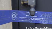 Finowfurt | Razzien und Festnahmen wegen sexuellen Missbrauchs: Siegel des Polizeipräsidiums Münster an Haustür