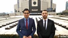 Das erste bulgarische Privatfernsehen bTV wird 20 Jahre alt. Die Moderatoren Anton Hekimjan und Swetoslaw Ivanov.