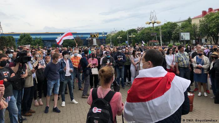 Демонстрація у Мінську на підтримку висунення кандидаткою в президенти Світлани Тихановської