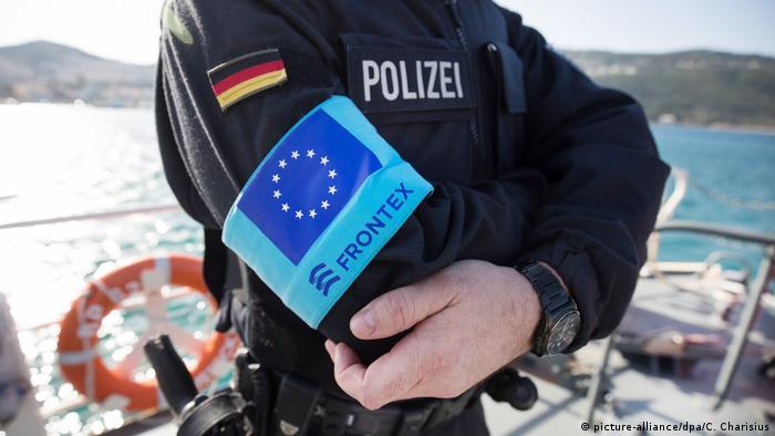 Border policeman with Frontex arm band