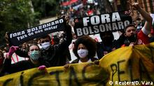 Protesters attend a demonstration against Brazilian President Jair Bolsonaro and in support of democracy in Porto Alegre, Brazil June 7, 2020. REUTERS/Diego Vara