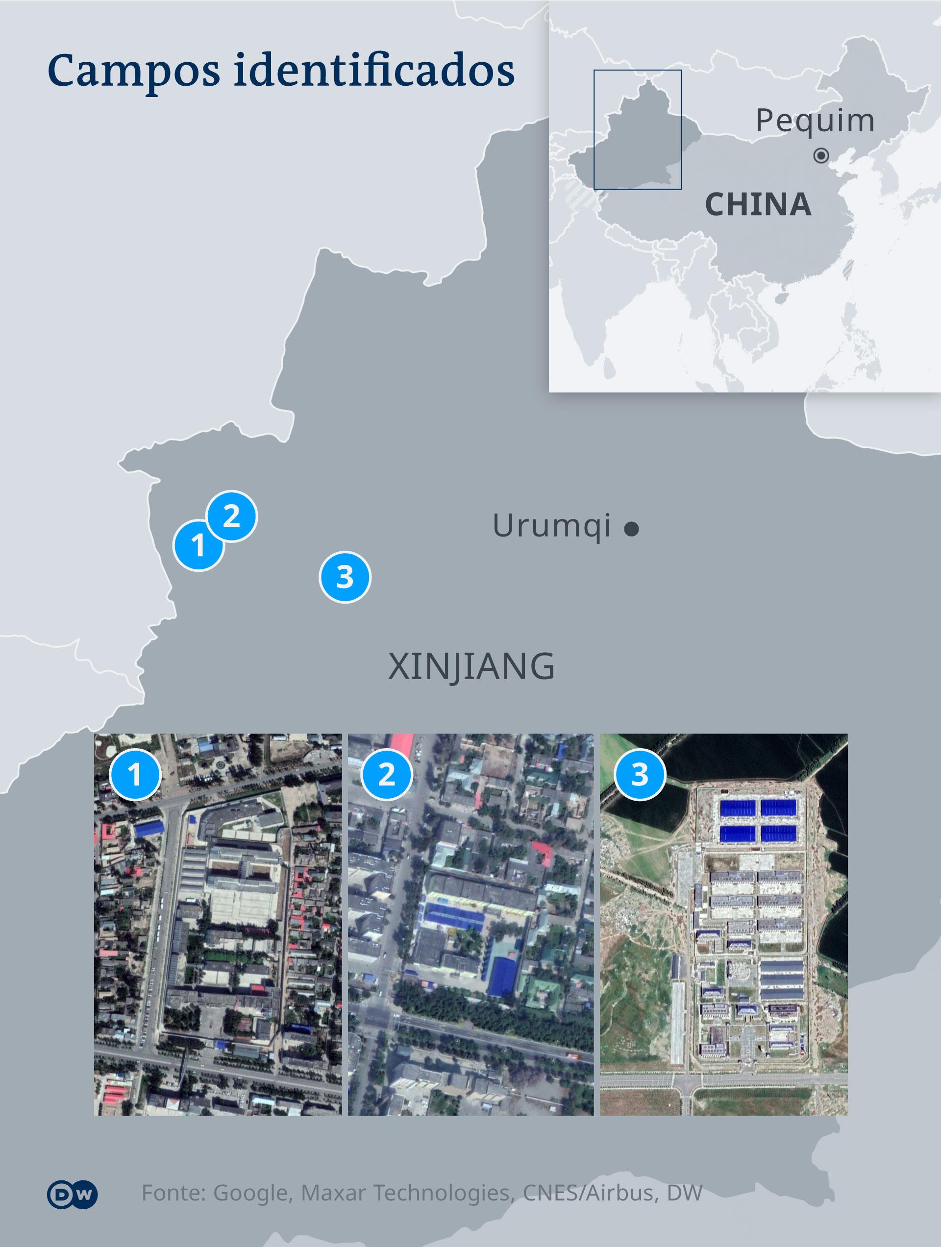 Campos identificados pela DW na China