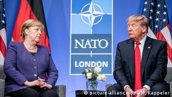 Ангела Меркель и Дональд Трамп на саммите НАТО в Великобритании в 2019 году
