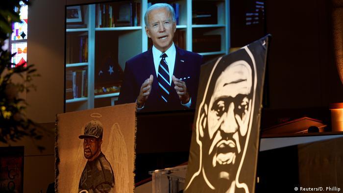 Joe Biden am 9. Juni 2020 bei einer per Video übertragenen Rede anlässlich der Begräbnisfeier für George Floyd