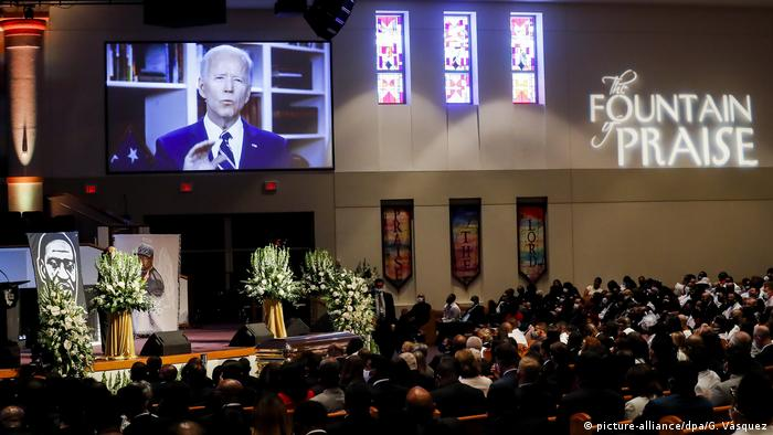 A video address from Joe Biden at the funeral of George Floyd