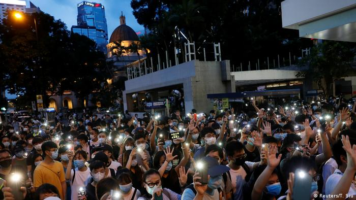 Manifestantes pró-democracia em Hong Kong