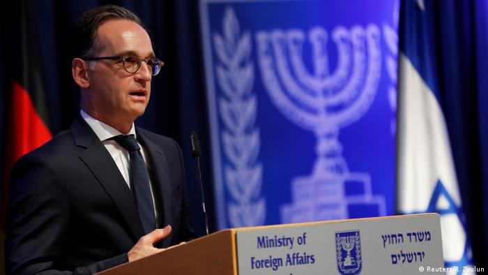 German Foreign Minister Heiko Maas at a press conference in Jerusalem