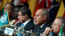 From left to right, Amr Moussa, secretary general of the Arab League, Sudanese Senior Assistant to the President, Minni Arkou Minnawi, Turkish Foreign Minister, Ahmet Davutoglu, Egyptian foreign minister Ahmed Aboul Gheit, and the secretary general of the Organization of Islamic Conference, Akmal Eddine Ihsan Oglo, are seen during the opening of the International donor conference for the development and the construction of Darfur, which co-chaired by Egypt and Turkey with backing from the Organization of the Islamic Conference (OIC), in Cairo, Egypt, Sunday, March 21, 2010. The conference is intended to raise $2 billion for infrastructure, health, water and other projects in the war-ravaged Sudanese region. (AP Photo/Amr Nabil)