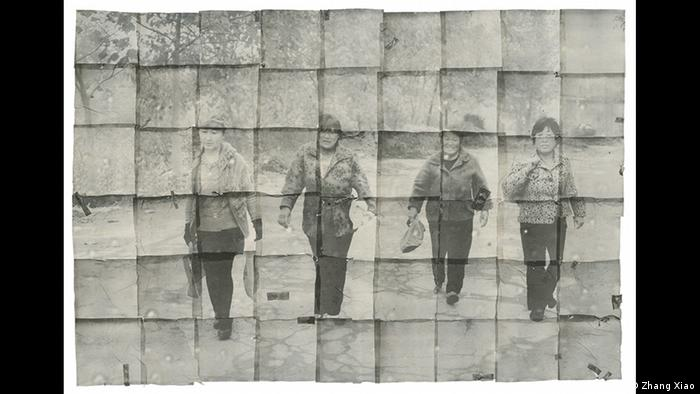 Four women waling across a landscape, collage photo by Zhang Xiao