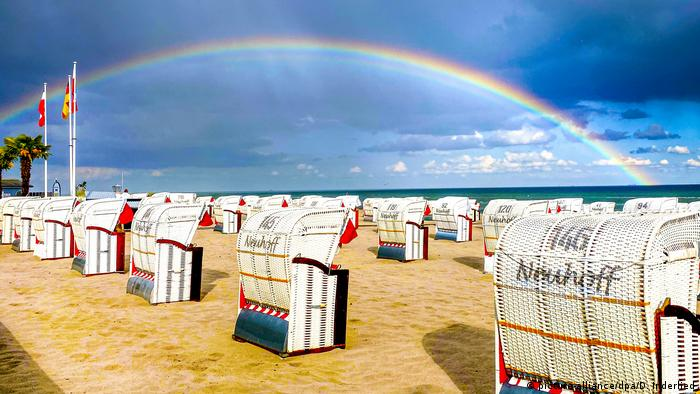 A rainbow over the beach in Grömitz, Germany