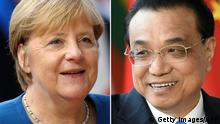 (COMBO) This combination created on June 11, 2020 of file pictures shows Germany's Chancellor Angela Merkel (L, at the European Union Headquarters in Brussels on October 17, 2019) and Chinese Premier Li Keqiang (also at the EU headquarters in Brussels on April 9, 2019). - German Chancellor Angela Merkel is holding a video conference with Chinese Premier Li Keqiang on June 11, 2020. (Photos by ARIS OIKONOMOU and JOHN THYS / AFP) (Photo by ARIS OIKONOMOU,JOHN THYS/AFP via Getty Images)