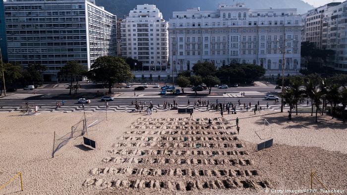 Foto de protesta de activistas en la playa de Brasil con fosas simbólicas en la arena