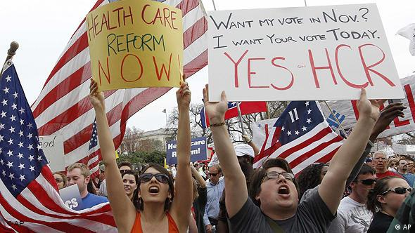 Demonstrators in favor of the health care reform bill chant outside of the U.S. Capitol as the House prepares to vote on the bill in Washington, Sunday, March 21, 2010