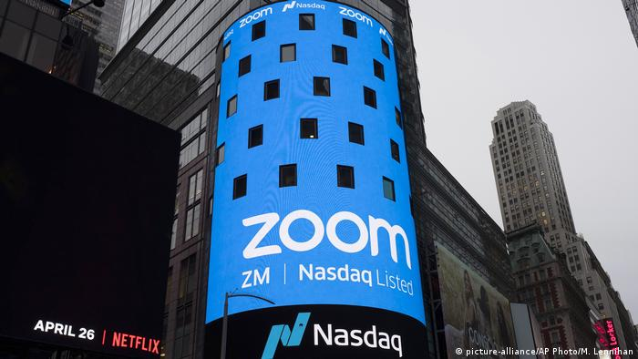 Photo shows a sign for Zoom Video Communications ahead of its Nasdaq IPO in New York