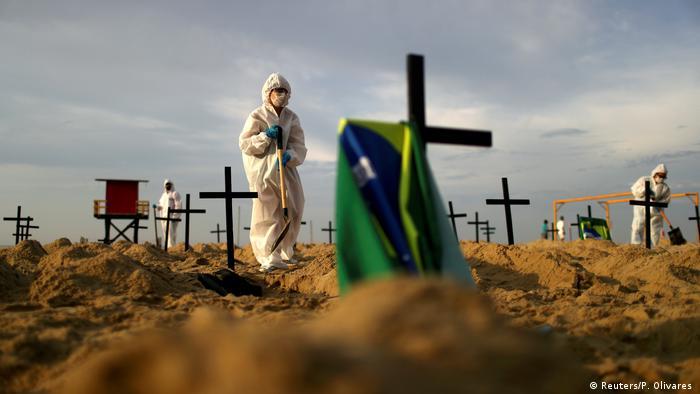 Protesto com sepulturas em Copacabana