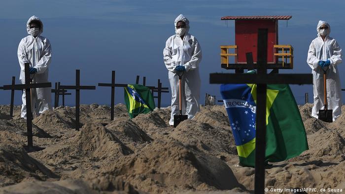 Ativistas da ONG Rio de Paz chamam atenção em Copacabana para mortos por covid-19, em 11 de junho