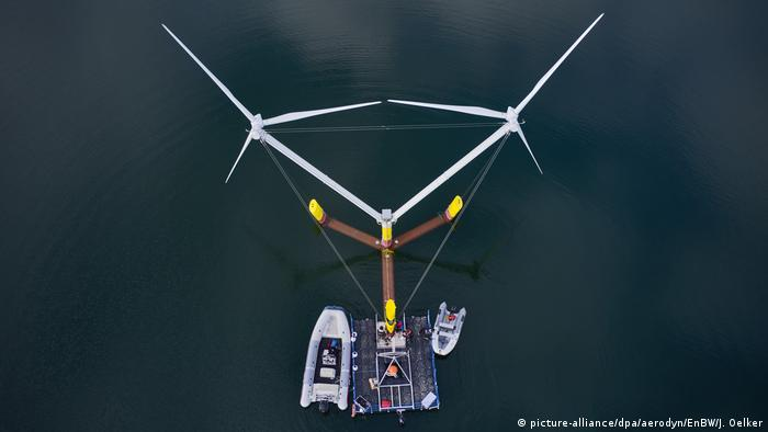 A prototype of a floating wind turbine in Lower Saxony, Germany