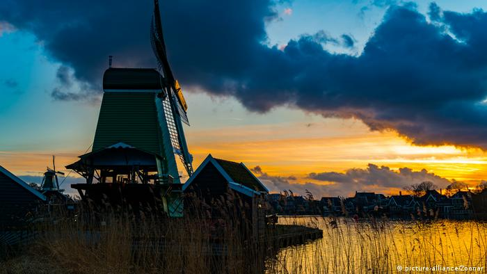 A windmill at sunset, the Netherlands