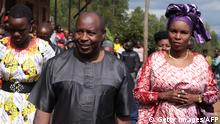 Evariste Ndayishimiye (2nd R), Burundi's Presidential candidate of the ruling party the National Council for the Defense of Democracy - Forces for the Defense of Democracy (CNDD-FDD), and his wife Angelique Ndayubaha (R) arrive to vote during the presidential and general elections at the Bubu Primary school in Giheta, central Burundi, on May 20, 2020. (Photo by - / AFP) (Photo by -/AFP via Getty Images)