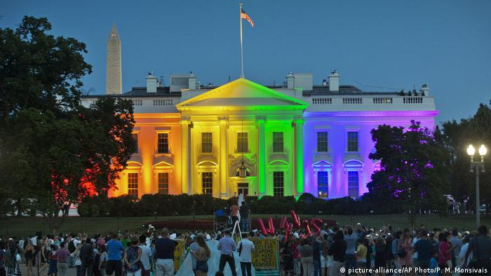 The White House lit up in the LGBT+ rainbow flag colors