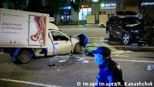 MOSCOW, RUSSIA - JUNE 9, 2020: A police officer at the scene of a fatal head-on collision between a Jeep Grand Cherokee and a Lada delivery van, involving actor Mikhail Yefremov, in Smolenskaya Square in central Moscow. Sergei Zakharov, the driver of the Lada delivery van, was rushed to the hospital where he died of injuries. Mikhail Yefremov, who had been driving the Jeep Grand Cherokee, appeared to be drunk during the accident. Roman Kanashchuk/TASS PUBLICATIONxINxGERxAUTxONLY TS0DBD33