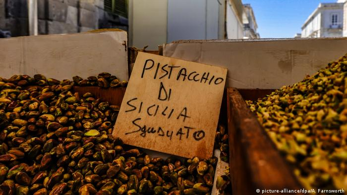 Sicilian pistachio for sale in the market on the island of Ortegia
