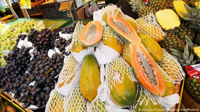 A market in Wiesbaden displays papaya and other fruit