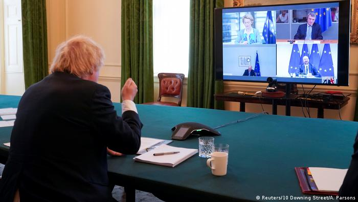 British Prime Minister Boris Johnson takes part in a video conference call with EU leaders