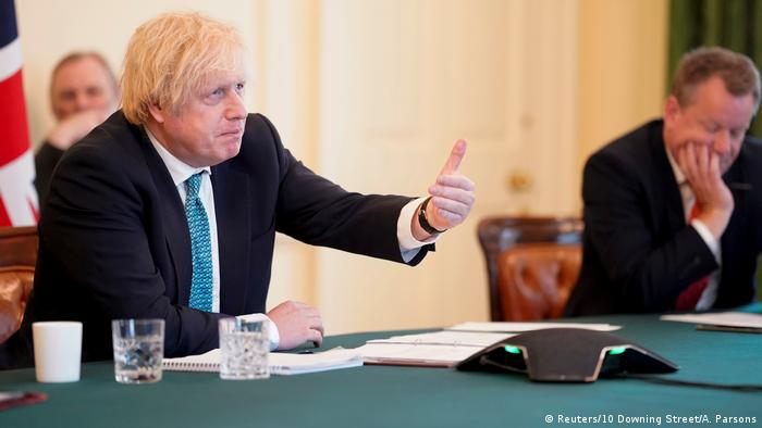 Boris Johnson chairs a video conference