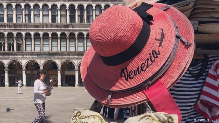 A hat with the word venezia sewn onto it