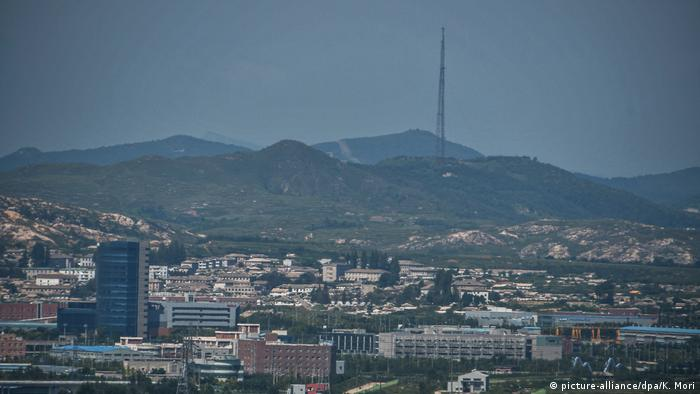 North Korea's town of Kaesong is seen from the Dorasan Observatory