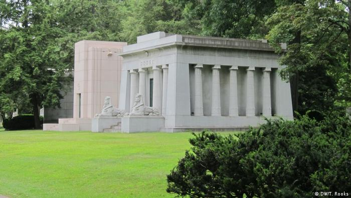 The Dodge brothers mausoleum built in the then fashionable Egyptian style, Woodlawn Cemetery, Detroit