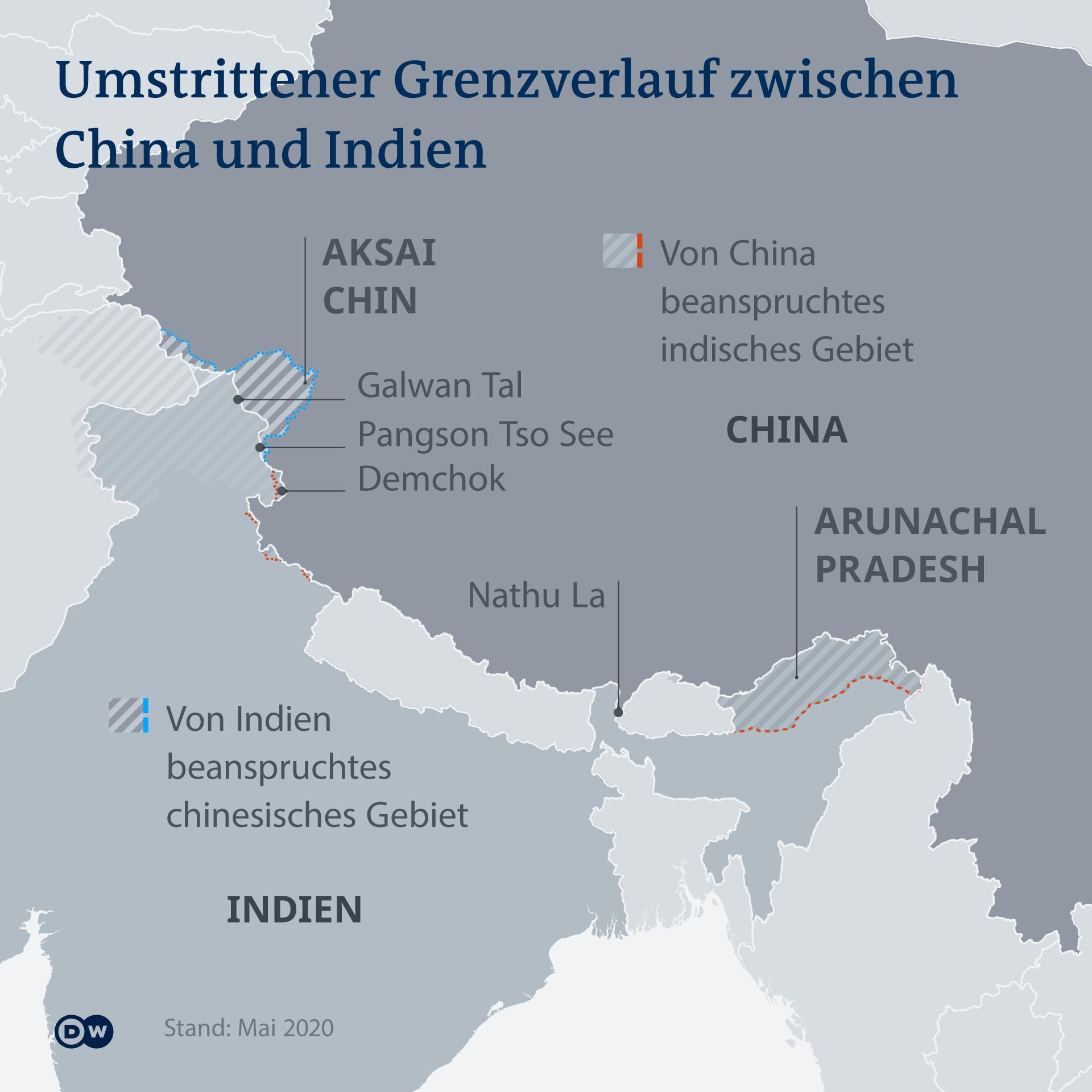 Infografik Karte Umstrittener Grenzverlauf zwischen Indien und China DE