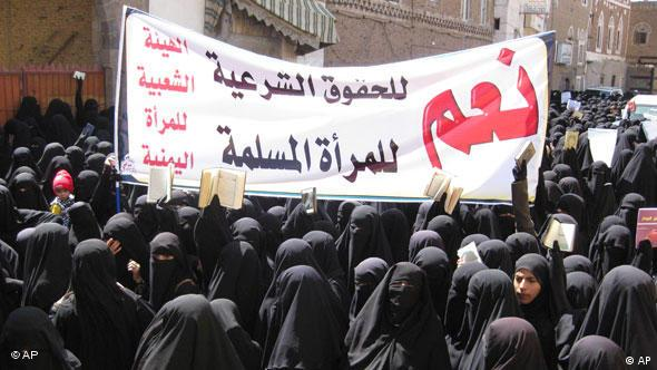 Jemen Kinderehe Demonstration von Frauen vor dem Parlament in Sanaa Flash-Galerie