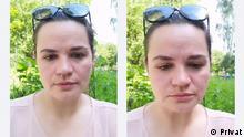 Swetlana Tichanowskaja, Frau eines bekannten weißrussischen Blogers Sergey Tichanowskij. Sie hat dieses Video unserer Korrespondentin A. Boguslawskaja zur Verfügung gestellt. Tichanowskaja spricht über ihren Aussieg aus dem Kampf um Präsidentenposten. 16.6.2020