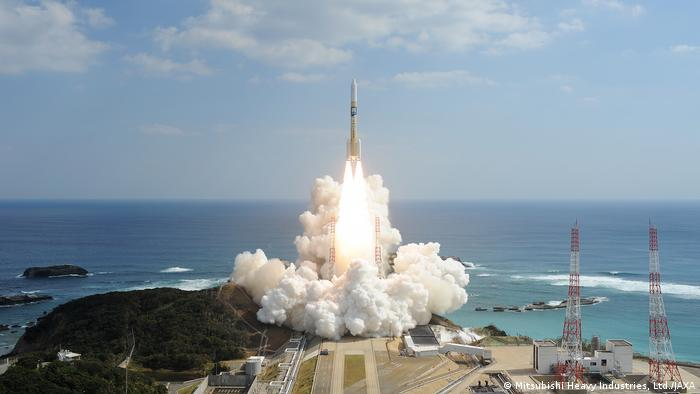 A Japanese rocket, H-IIA, launching from Tanegashima Space Center