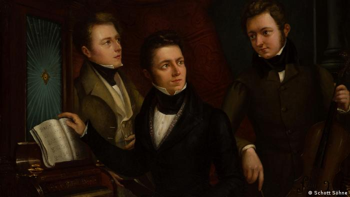 Ein historisches Gemälde des Porträtmalers Benjamin Orth zeigt die drei Gründer des Schott-Verlags