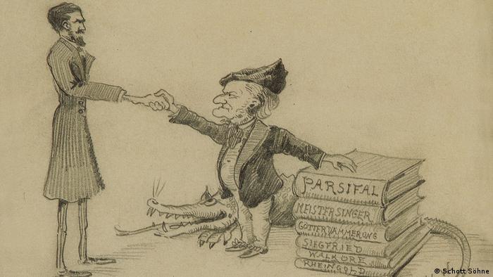 Karikatur von Willy Strecker mit Richard Wagner und einem Krokodil, das Zähne zeigt.(Schott Söhne)
