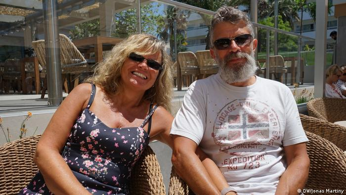 Andrea and Dietmar Bumbullis on the terrace of the Riu Concordia Hotel, Mallorca, Spain