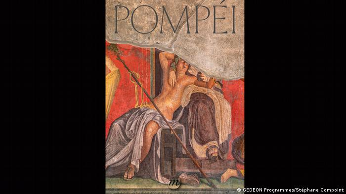 Poster for the Pompeii exhibtion showing a painting of a half-naked man reclining (GEDEON Programmes/Stéphane Compoint)