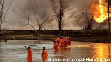 Indien Brand in Ölquelle bedroht Ökologie in Assam