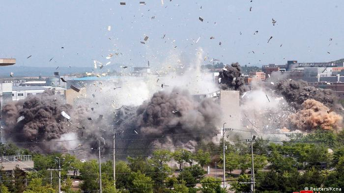 A view of an explosion of a joint liaison office with South Korea in border town Kaesong, North Korea in this picture supplied by North Korea's Korean Central News Agency (KCNA) on June 16, 2020.